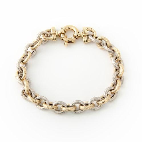 Alternating Two Tone Textured Link Bracelet 14k Gold