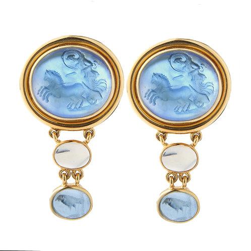 Elizabeth Locke Cerulean Venetian Glass Intaglio Earrings