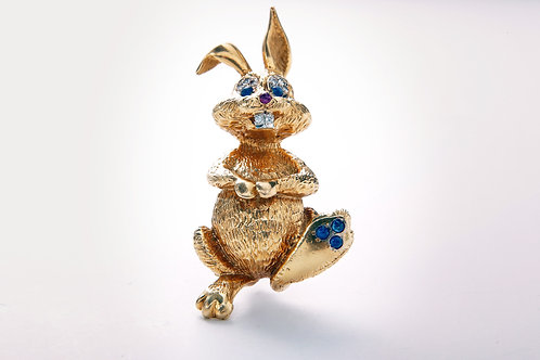 18k bunny with sapphire and diamond eyes