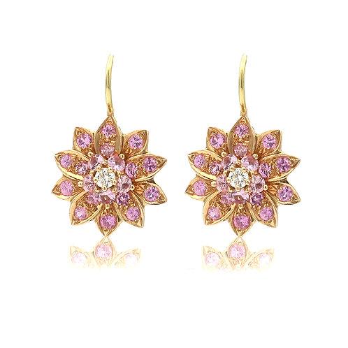 Robert Bielka Pink Sapphire Flower Earrings 18K Rose Gold