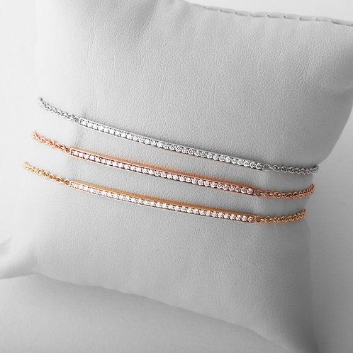 14K Yellow, White, Rose Gold Diamond Bar Bracelet