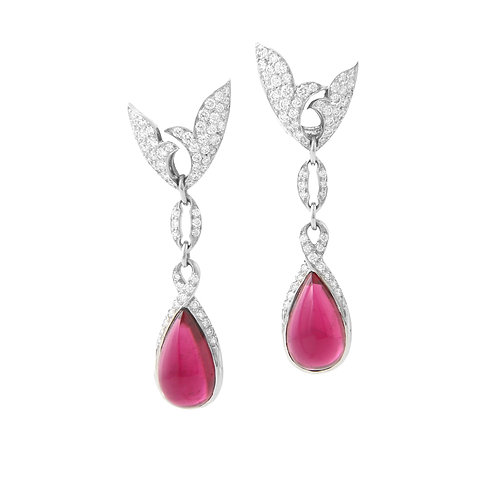 Michael Bondanza Rubellite Drop & Diamond Earrings PLAT/18K Gold