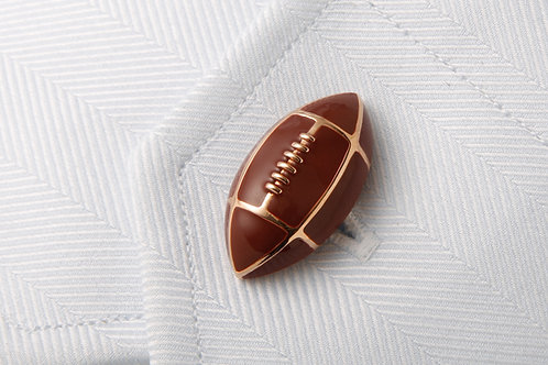 Football cufflinks brown enamel and 18k gold