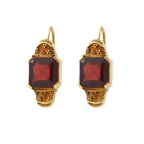 Victorian Inspired, Square Cut Garnet Earrings 18K Yellow Gold Front Closure Lev