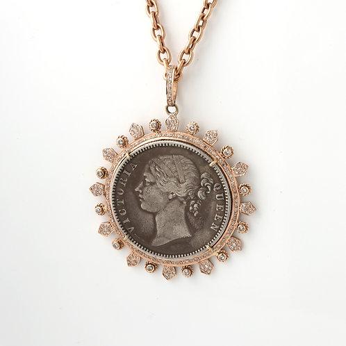Rupe Coin, Medallion Pendant 14K Rose Gold & Diamonds