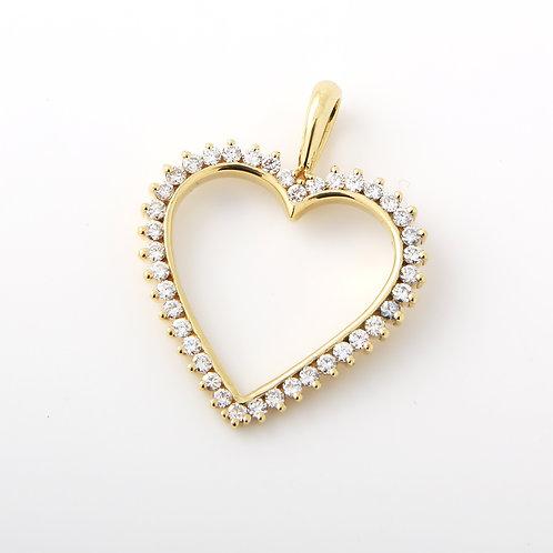 Jose Hess 18K Yellow Gold and Diamond Heart Pendant