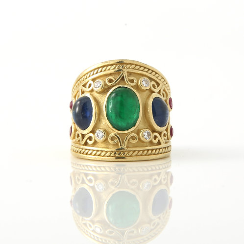 1980's Cigar Band 18K Yellow Gold, Multi Gem Stone/Diamonds