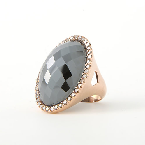 Large, Faceted Hematite & Diamond Statement Ring, 18K Rose Gold