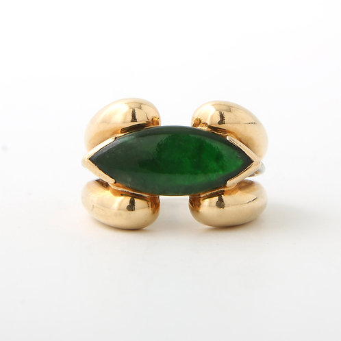 18K Gold Ring Marquise Shaped Jade
