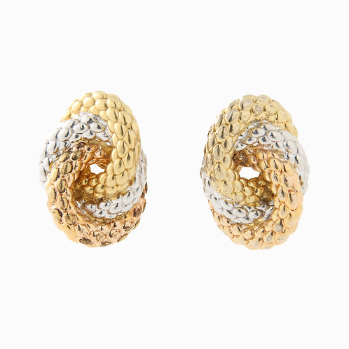 FOPE, Woven Tri-color Love Knot Earrings 18k Gold