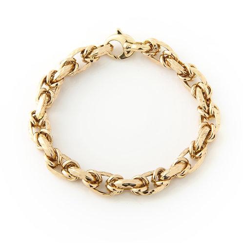 Ladies Hammered Link Bracelet 14k Yellow Gold