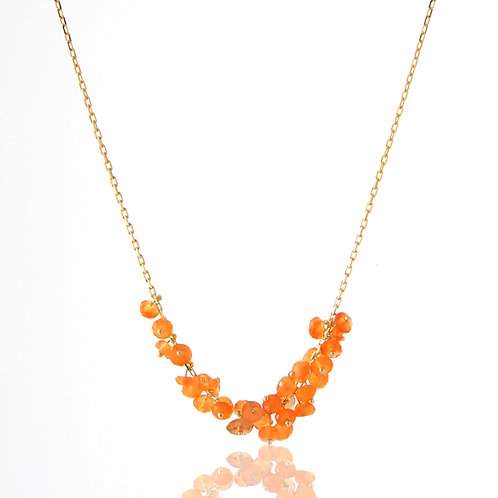 Delicate, 18K Yellow Gold Necklace Faceted Orange Beads