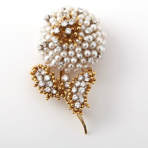 Kurt Wayne 18K Yellow Gold Pearl & Diamond Flower Brooch