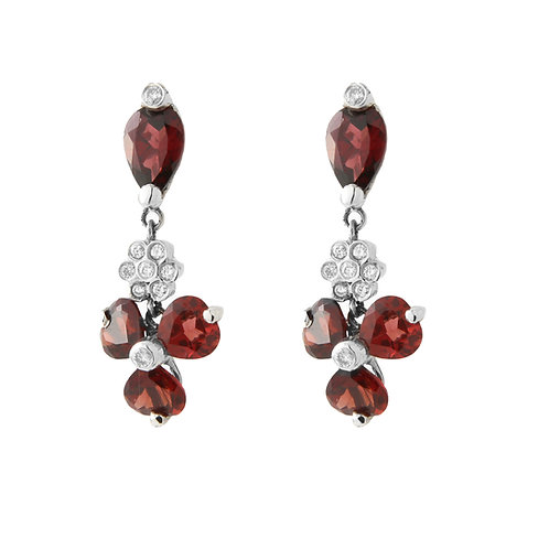 Garnet & Diamond Dangle Earrings 14K White Gold