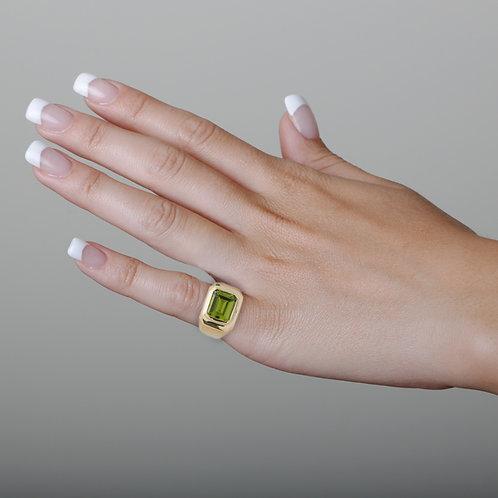 Gypsy Ring Solid 18K Gold, Rectangular Peridot