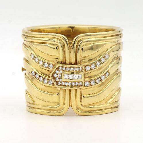"Statement Piece, 2"" Wide Gold Cuff Bracelet W/Diamonds 3.5 ct 18K Gold"