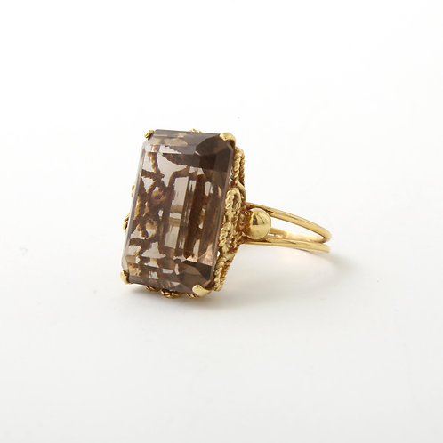 Vintage, 1960's-1970's Large Smokey Quartz Ring 18K Yellow Gold