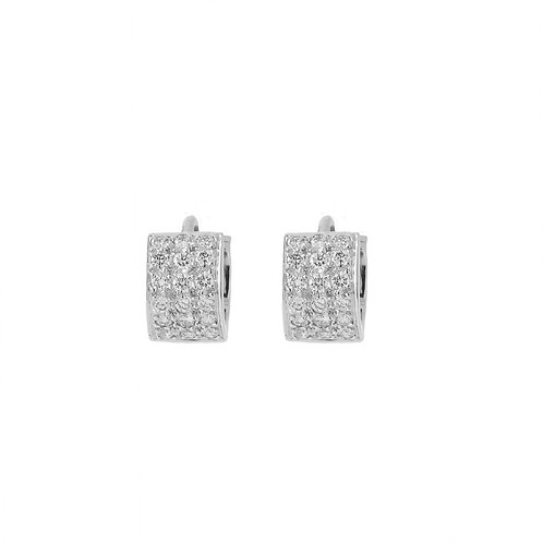 Diamond Pave Huggie Earrings 18K White Gold 11.5mm