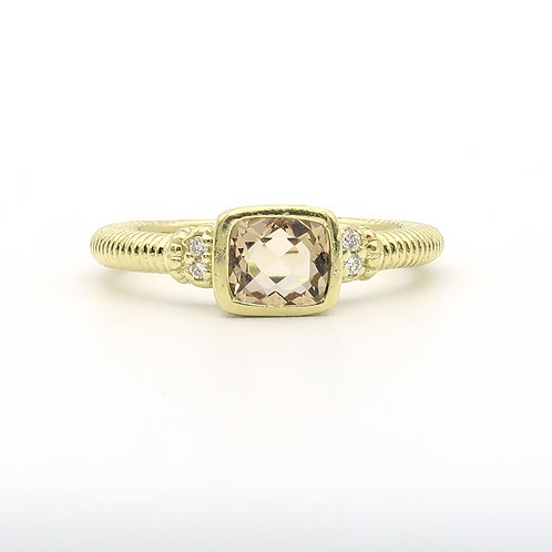 Judith Ripka ring with cushion cut yellow quartz and four diamonds