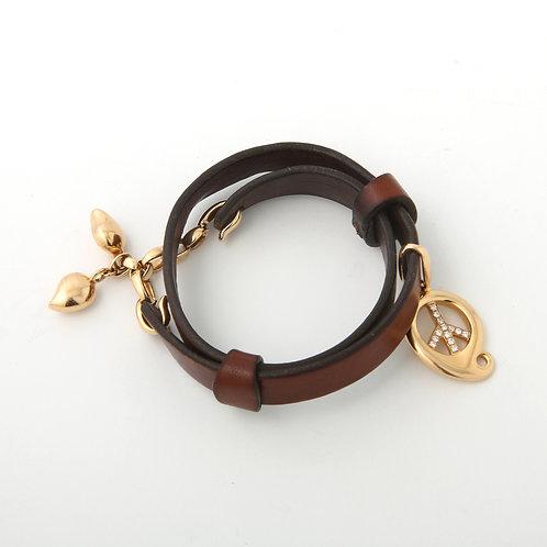 Tamara Comolli Paisley Diamond Peace Sign Double Wrap Leather Loop Bracelet 18k