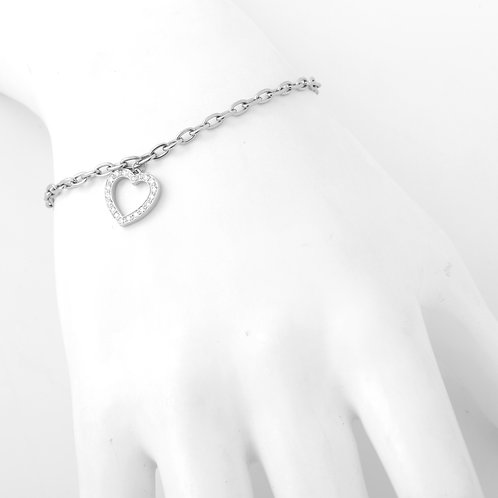 Tiffany & Co. Platinum Charm Bracelet with Dangling Diamond Heart