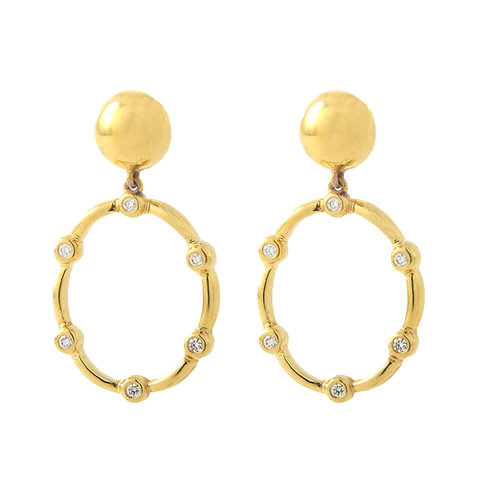 18K Yellow Gold Diamond Earrings Dangle Oval Hoop