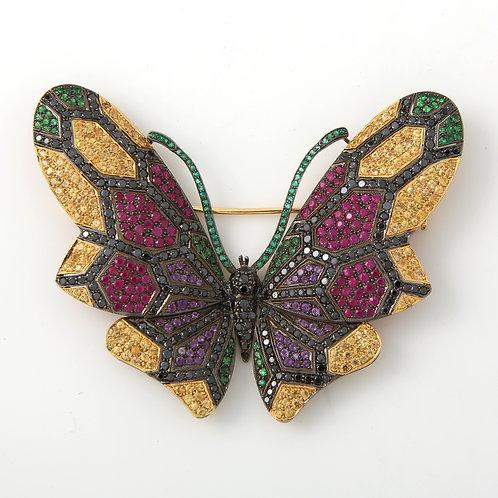 Eli Frei Large Multi Gemstone Butterfly Brooch