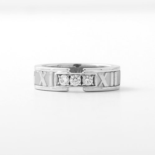 Tiffany & Co. 18K Atlas Band White Gold & Diamonds