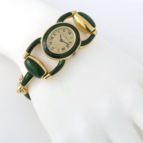 Vintage Bueche Girod 18K yellow gold and green enamel watch circa 1970's