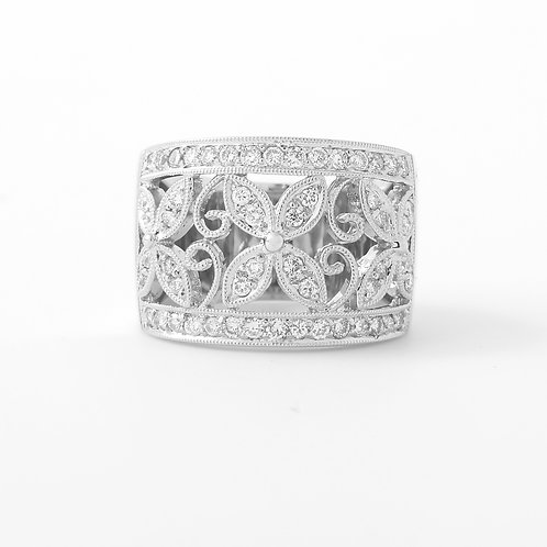 Lacey Cut-Out Pattern Diamond Band 18k White Gold