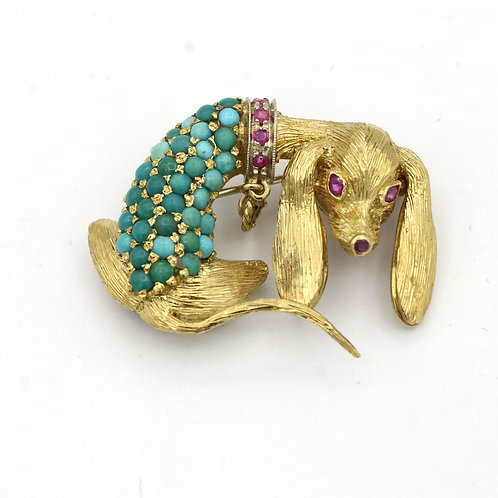 Vintage, Mid Century Hound Dog Brooch, 18K Yellow Gold, Rubies and Turquoise