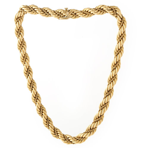 Vintage Tiffany & Co  Rope Chain Necklace 18K Yellow Gold