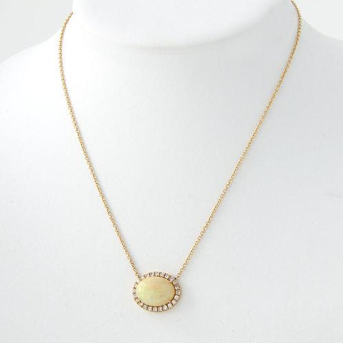 Opal & Diamond East West Design Pendant 18K Yellow Gold