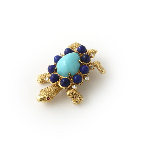 Mid Century Turtle Brooch Turquoise Lapis & Diamonds
