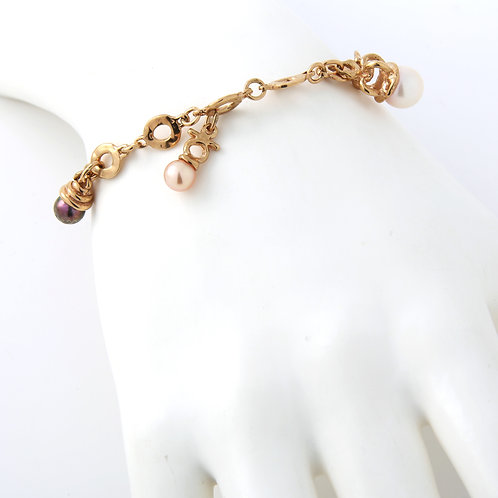Ladies Charm Bracelet with Cultured Pearls 14K Yellow Gold