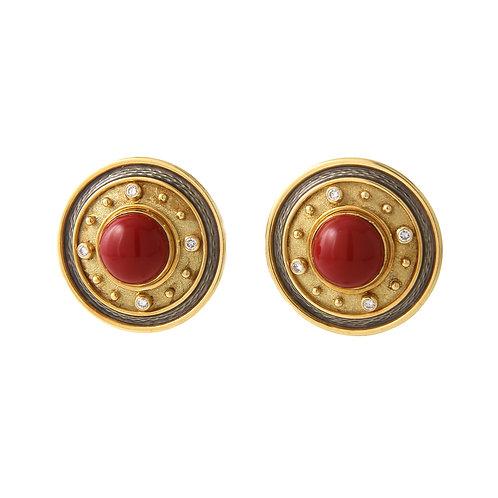 De Vrooman Earrings Coral, Diamonds & Enamel 18K Yellow Gold, Clips