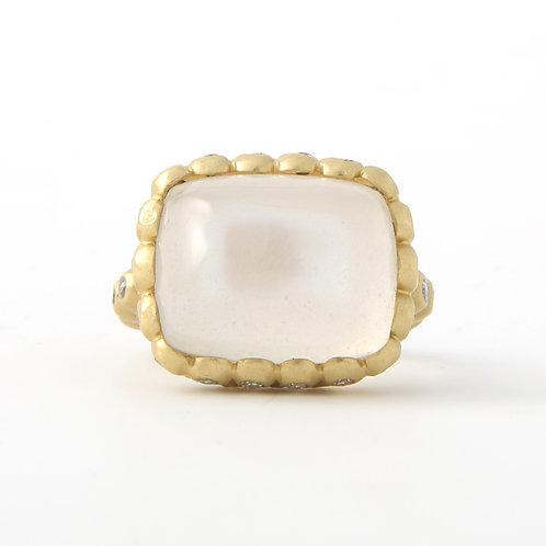 Faye Kim Moon Stone & Diamond Ring 18K Yellow Gold