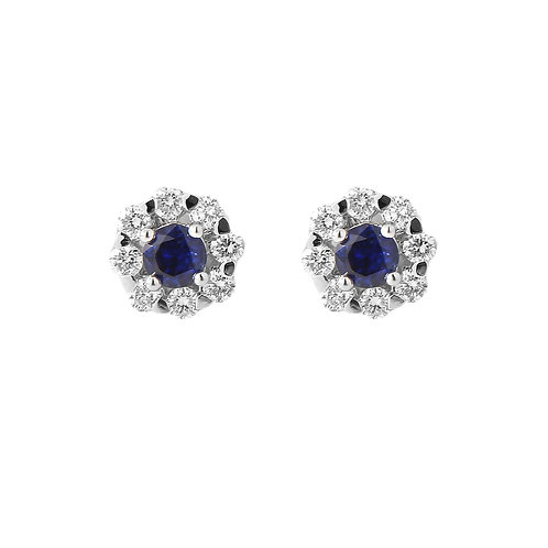 Diamond & Sapphire Flower Cluster Earrings, 18K White Gold
