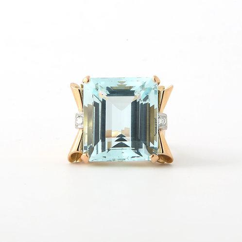 1940's, Retro Aquamarine/Diamond Cocktail Ring Rose Gold