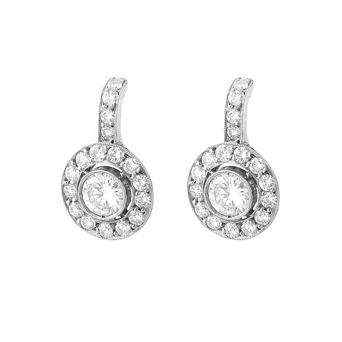 Platinum/18K Victorian Era Inspired Diamond Drop Earrings