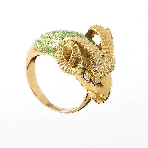 Rams Head Ring, Green Enamel, 18K Yellow Gold