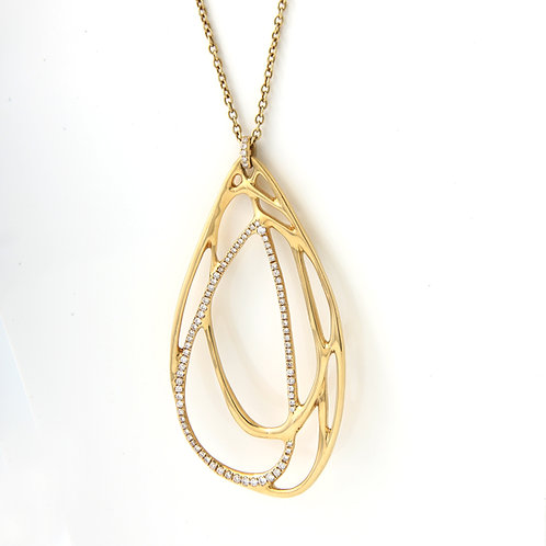 "Ipolitta Large Freeform Tear Drop Diamond Pendant 32"" Chain 18K Yellow Gold"