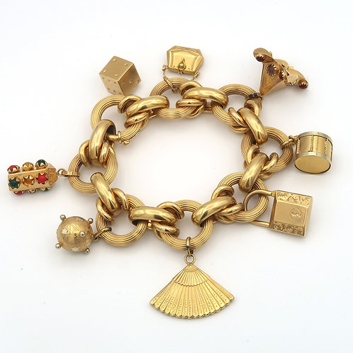 Mid-Century Large Charm Bracelet 18K Yellow Gold