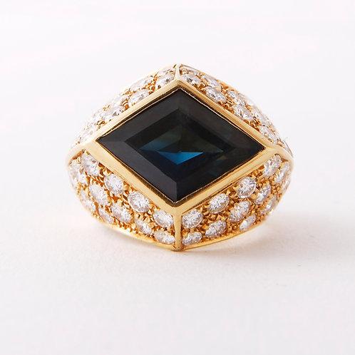 18K Retro Green Sapphire & Pave Diamond Ring