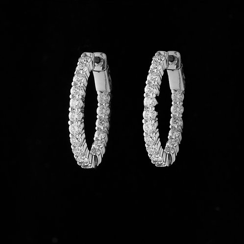 Oval Shaped Inside-Out Diamond Hoops 14K White Gold