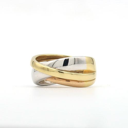 Guy Laroche, French X Crossover Ring 18K Tri-Color