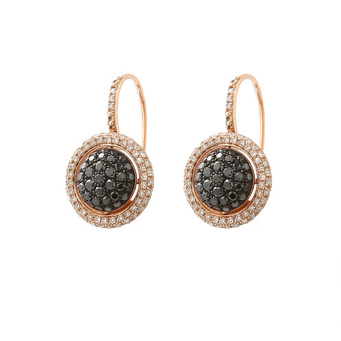 Circular Pave Disc Earrings Black & White Diamond 14K Rose Gold