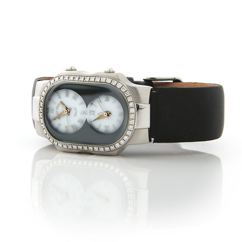 Philip Stein Duel Time Ladies Watch Stainless Steel with Diamonds