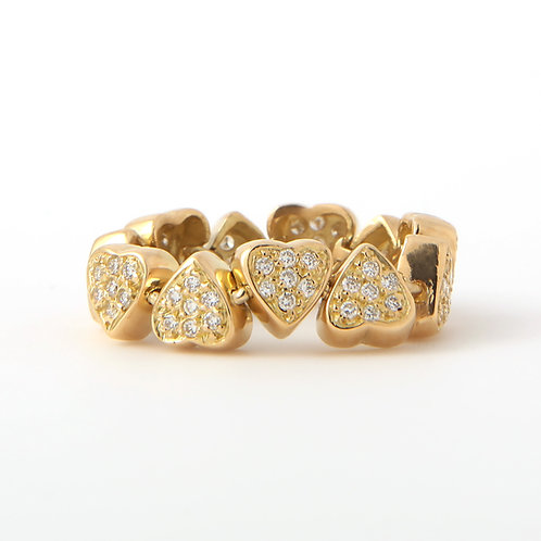 Flexible 18K Yellow Gold Multi Heart Ring, Diamonds