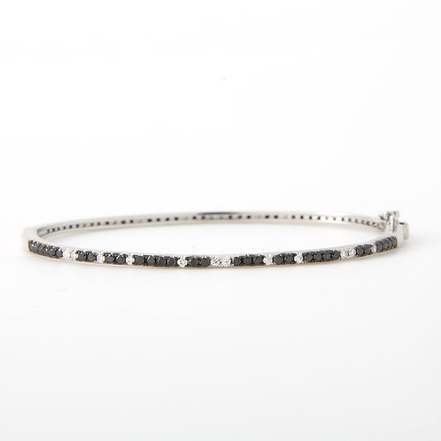 Black & White Diamond Bangle Bracelet 14K White Gold